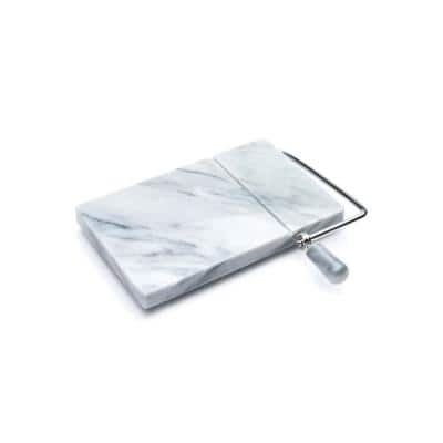 8 in. W x 5 in. D Marble Cheese Board with Slicer