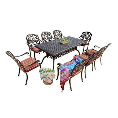 Jade 9-Piece Aluminum Outdoor Patio Dining Set with Red Cushions