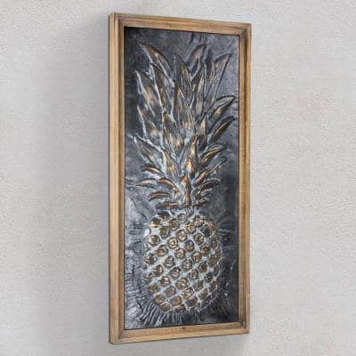 Metal Pineapple Framed Wall Art