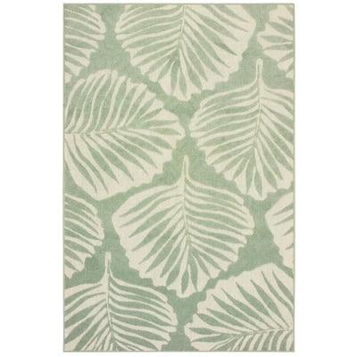 Katalina Green/Ivory 10 ft. x 13 ft. Palms Indoor/Outdoor Area Rug