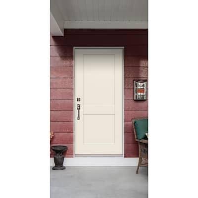 32 in. x 80 in. 2-Panel Craftsman Primed Steel Prehung Right-Hand Inswing Front Door