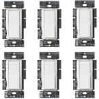 Diva LED+ Dimmer Switch for Dimmable LED, Halogen and Incandescent Bulbs, Single-Pole or 3-Way, White (6-Pack)