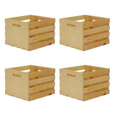 13.5 in. x 12.5 in. x 9.5 in. Medium Wood Crate (4-Pack)