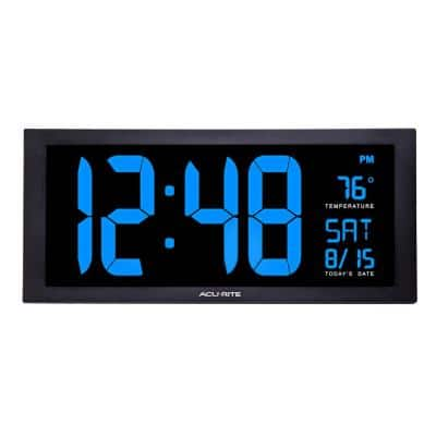 18 in. Large LED Clock with Indoor Temperature in Blue Display