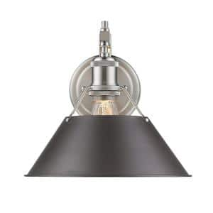 Orwell PW 1-Light Pewter Sconce with Rubbed Bronze Shade