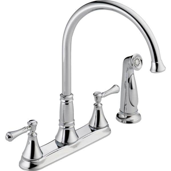 Delta Cassidy 2 Handle Standard Kitchen Faucet With Side Sprayer In Chrome 2497lf The Home Depot
