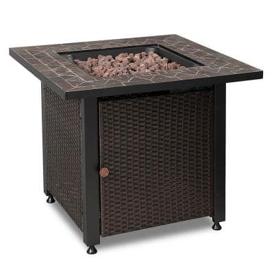30 in. x 25 in. Square Mosaic Tile LP Outdoor Gas Fire Pit