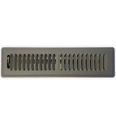 14 in. L x 2.25 in. W Steel Floor Register, Storm Gray with Damper and 2-Way Louvers