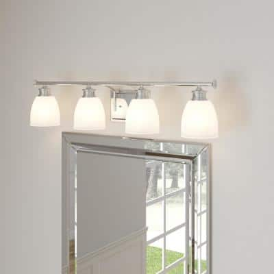 Lucky Collection 33.56 in. 4-Light Polished Chrome Bathroom Vanity Light with Glass Shades