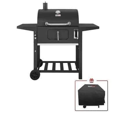 24 in. BBQ Charcoal Grill in Black with 2-Side Table with Cover