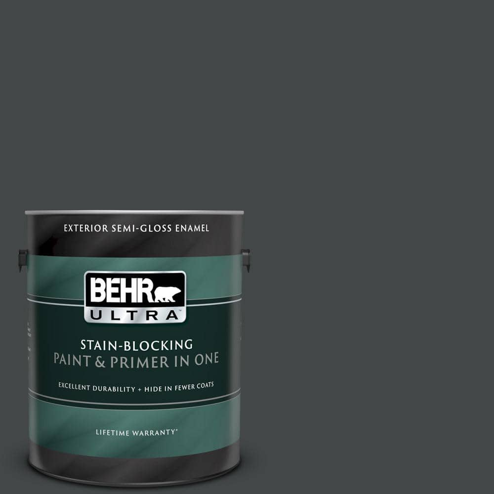 Behr Ultra 1 Gal Ppu24 23 Little Black Dress Semi Gloss Enamel Exterior Paint And Primer In One 585301 The Home Depot