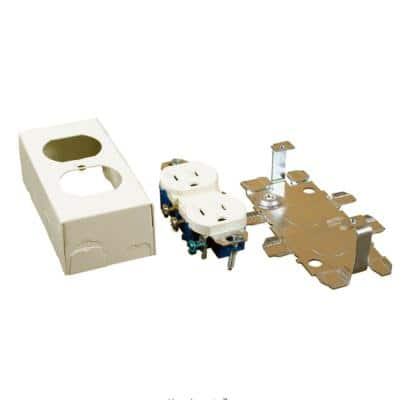 Wiremold 500 and 700 Series Metal Surface Raceway Duplex Grounding Receptacle Kit, Ivory