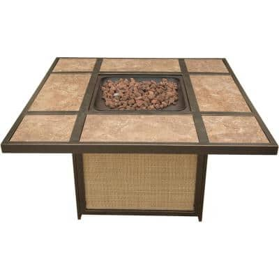 Traditions 41 in. Square Shaped Tile-Top Fire Pit Table