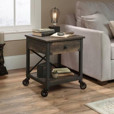 Steel River Carbon Oak Mobile End/Side Table