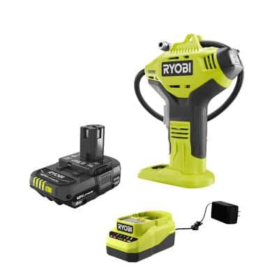 RYOBI ONE+ 18V Cordless High Pressure Inflator w/ Digital Gauge and 2.0 Ah Compact Battery and Charger Starter Kit