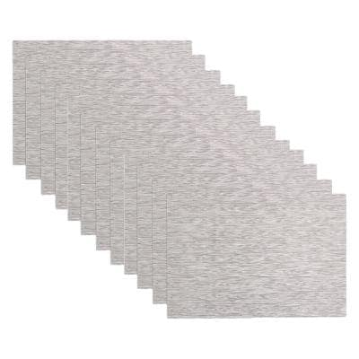 19 in. x 13 in. Oatmeal PVC and Polyester Grass Cloth Reversible Woven Indoor Outdoor Placemats (Set of 12)