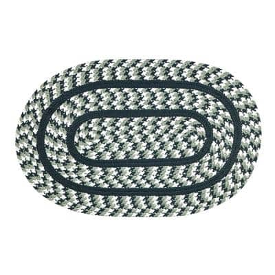 Crecent Braid Collection is Durable and Stain Resistant Reversible Green 42 in. x 66 in. Oval Polypropylene Area Rug