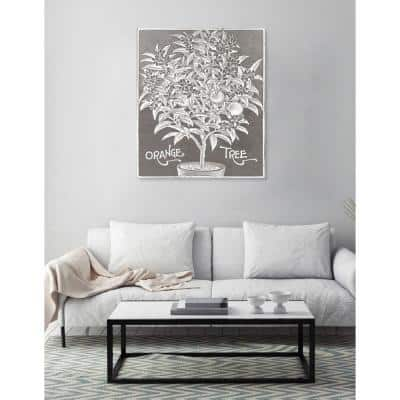"16 in. x 13 in. W ""Orange Tree Woodblock Print"" Printed Framed Canvas Wall Art"