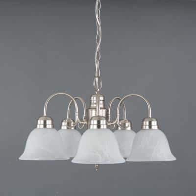 Manzanita 5-Light Satin Nickel Hanging Chandelier with Frosted Marble Glass Shade