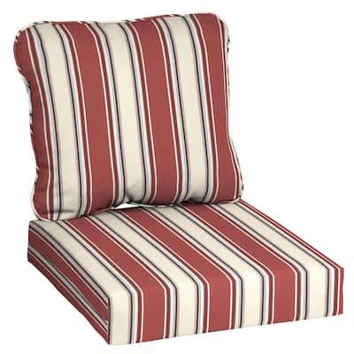 24 in. x 22 in. Chili Herringbone Stripe Deep Seating Outdoor Lounge Chair Cushion