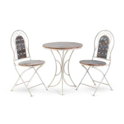Indoor/Outdoor 3-Piece Wood and Metal Bistro Set Table and Folding Chairs Patio Seating