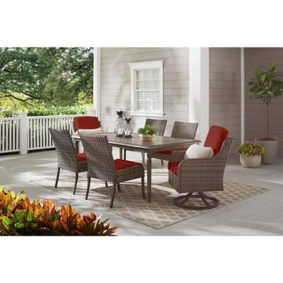 Windsor Brown 7-Piece Wicker Rectangular Outdoor Dining Set with Sunbrella Henna Red Cushions