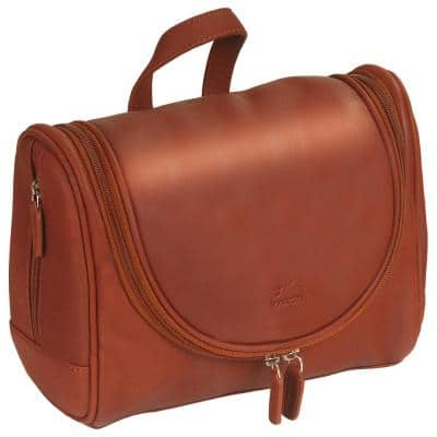 Colombian Collection Cognac Leather Hanging Toiletry Bag