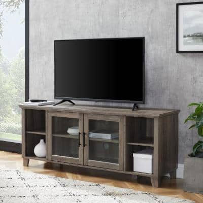 58 in. Gray Wash Composite TV Stand 65 in. with Doors