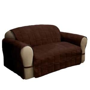 Ultimate Faux Suede Chocolate Loveseat Protector