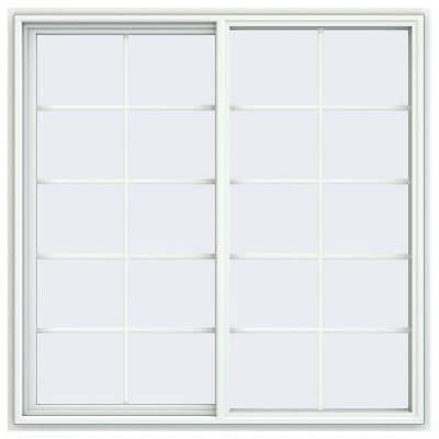59.5 in. x 59.5 in. V-4500 Series White Vinyl Left-Handed Sliding Window with Colonial Grids/Grilles