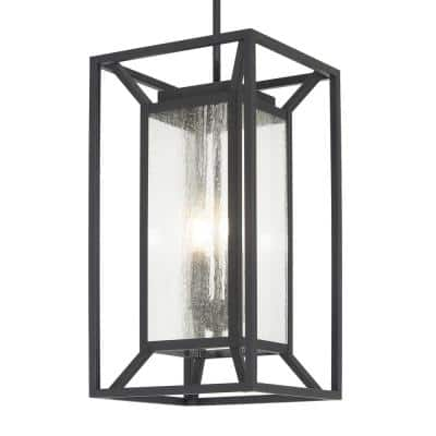 Harbor View 4-Light Sand Coal Outdoor Lantern Pendant with Clear Seeded Glass