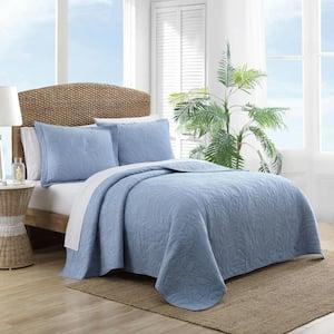 Solid Costa Sera Stitch 1-Piece Blue Solid Cotton Full/Queen Quilt