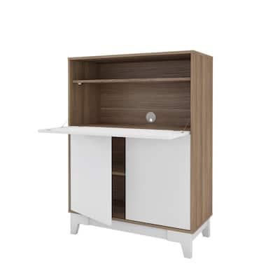 Boss 36 in. Rectangular Nutmeg and White Secretary Desk with Drop-Down Door