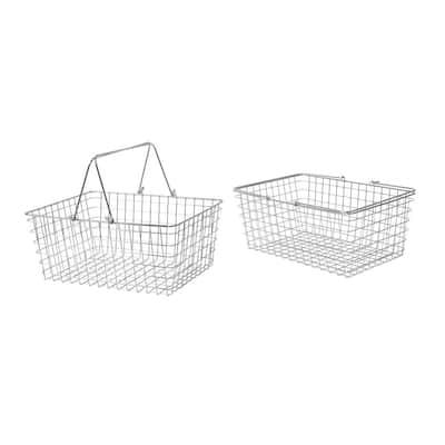12.5 in. D x 15.75 in. W x 6.75 in. H Large Chrome Steel Wire Storage Bin Basket Organizer (2-Pack)