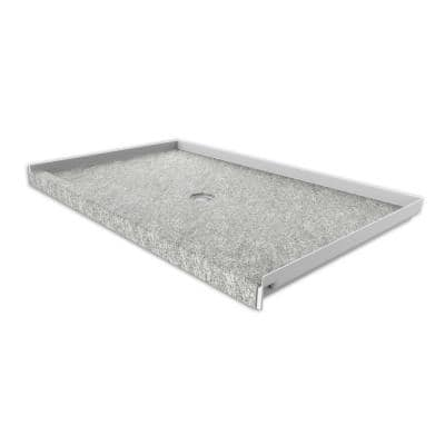 36 in. x 60 in. Single Threshold Shower Base with Center Drain in Arctic Haze
