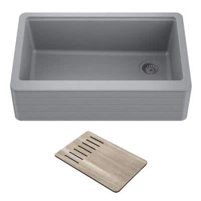 Bellucci Gray Granite Composite 29.75 in. Single Bowl Farmhouse Apron Workstation Kitchen Sink with Accessories