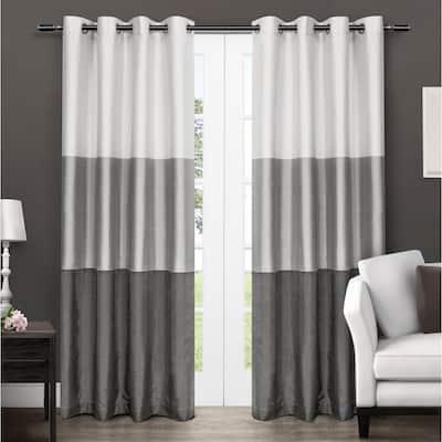 Black Pearl Striped Faux Silk Grommet Room Darkening Curtain - 54 in. W x 96 in. L (Set of 2)