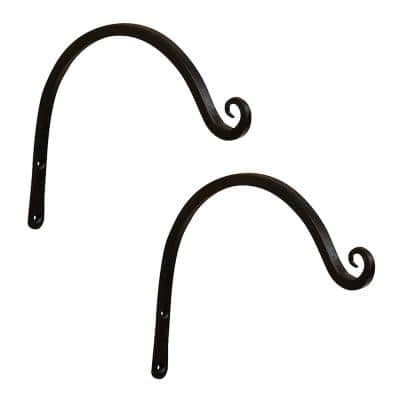 6 in. Tall Metal Wall Mounted Up Curled Brackets in Black Powder Coat  (Set of 2)