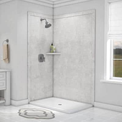 Elegance 48 in. W x 80 in. H x 36 in. D 7-Piece Easy Up Adhesive Corner Shower Wall Surround in Tundra