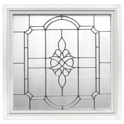 23.5 in. x 23.5 in. White Victorian P E Nickel Caming Replacement Frame Vinyl Picture Window