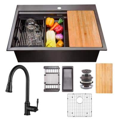 All-in-One Matte Black Finished Stainless Steel 25 in. x 22 in. Single Bowl Drop-in Kitchen Sink with Pull-down Faucet