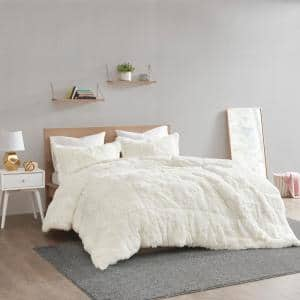 Leena 3-Piece Ivory Textured Shaggy Faux Fur Polyester King/Cal King Comforter Set