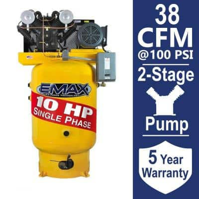 Industrial PLUS Series 80 Gal. 10 HP 1-Phase Vertical Electric Air Compressor with pressure lubricated pump