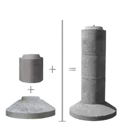 4-Section 40 in. Stackable Precast Concrete Pier-Type Footing
