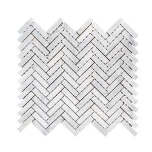 Jet Stream White  10.125 in. x 11.125 in. Herringbone Honed Marble Floor and Wall Mosaic Tile (0.782 sq. ft./Each)