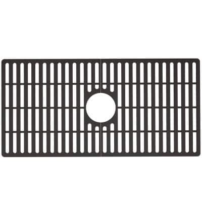 30 in. x 15 in. Silicone Bottom Grid for 33 in. Single Bowl Kitchen Sink in Black
