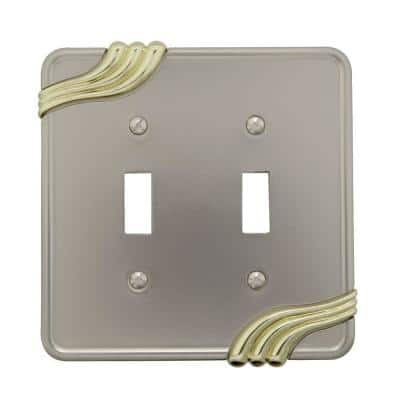 Grayson 2 Gang Toggle Zinc Wall Plate - Nickel and Brass
