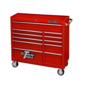 41 in. x 24 in. D 11-Drawer Roller Cabinet Tool Chest in Red
