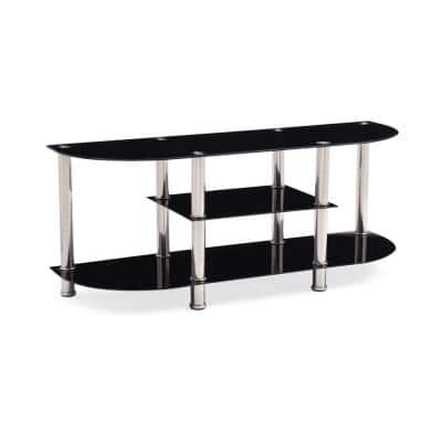 55 in. Black Glass TV Stand Fits TVs Up to 60 in. with Built-In Storage