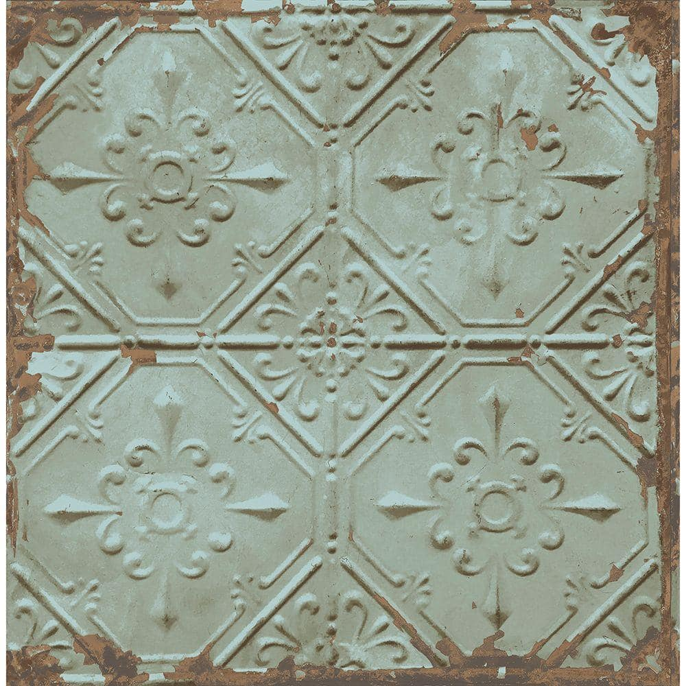 Brewster Donahue Turquoise Tin Ceiling Paper Strippable Roll Wallpaper Covers 56 4 Sq Ft 2701 22331 The Home Depot